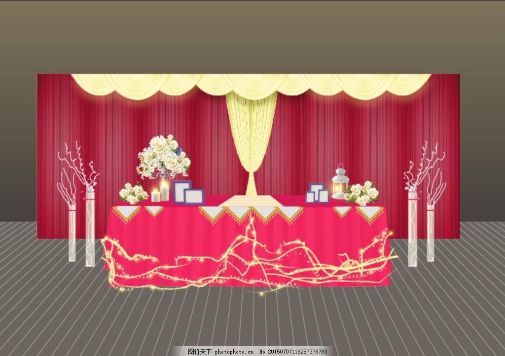 玫红色签到台 玫红色 签到台 布置 欧式背景 鲜花装饰 ai ai