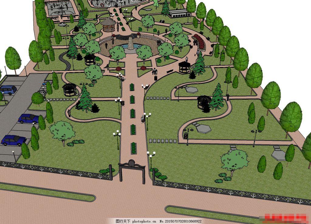 公园场景 广场 园林 景观设计 中心广场 树木 园林设计 室外图片