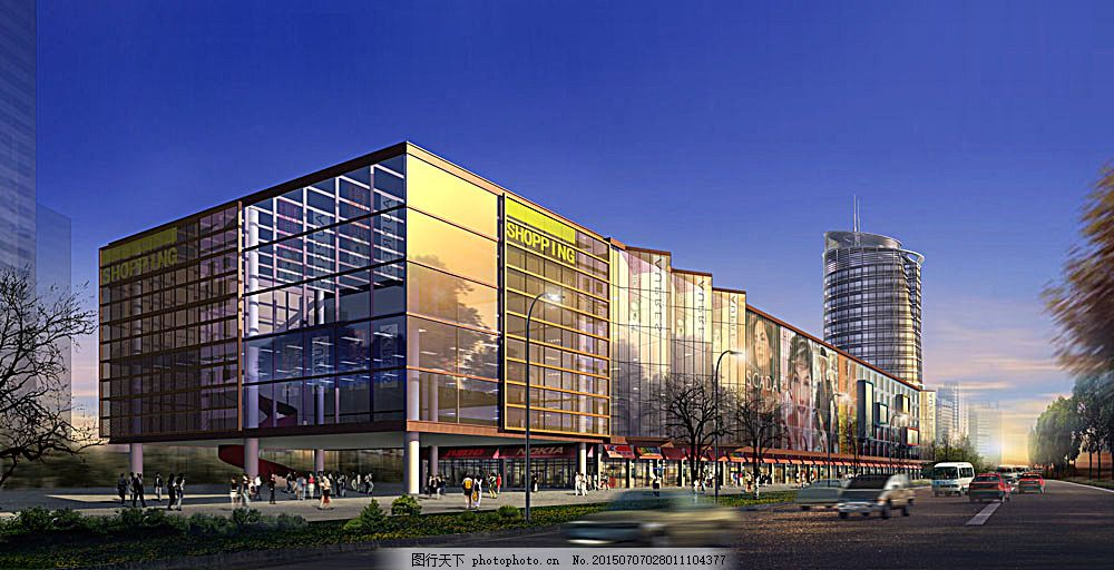 商城建筑透视图 建筑效果图 规划设计 城市规划 商业建筑 效果图素材