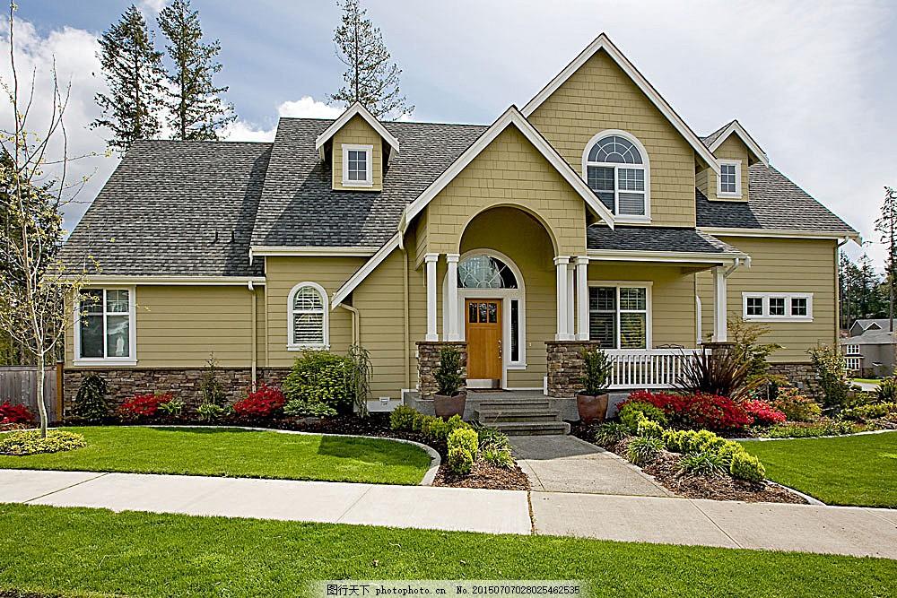 欧式别墅 建筑 房屋 草坪 环境家居 图片素材 白色