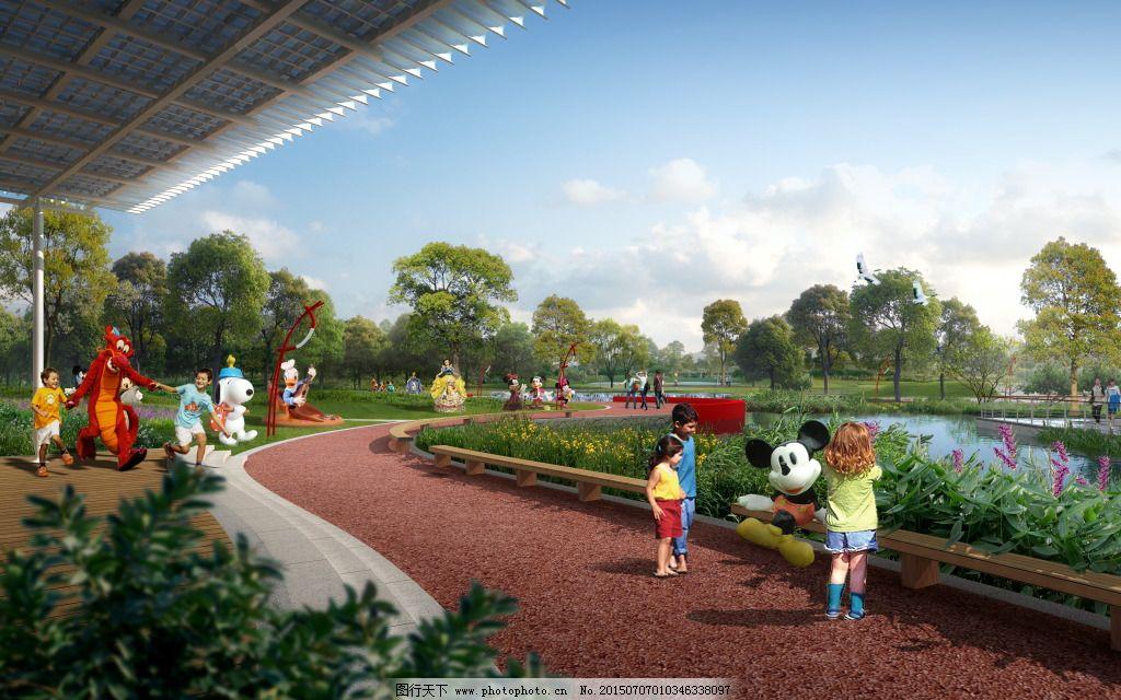 公园漫步道效果图 公园漫步道效果图免费下载 高清 景观 室外 园林