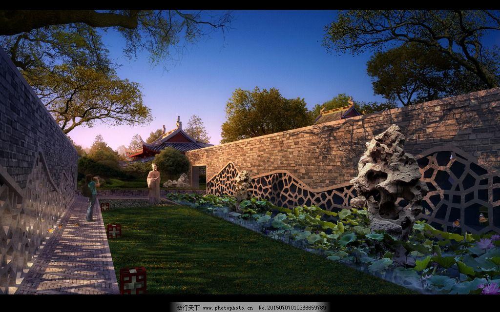 新中式公园效果图免费下载 高清 景观 景墙 室外 新中式 园林 高清 室图片