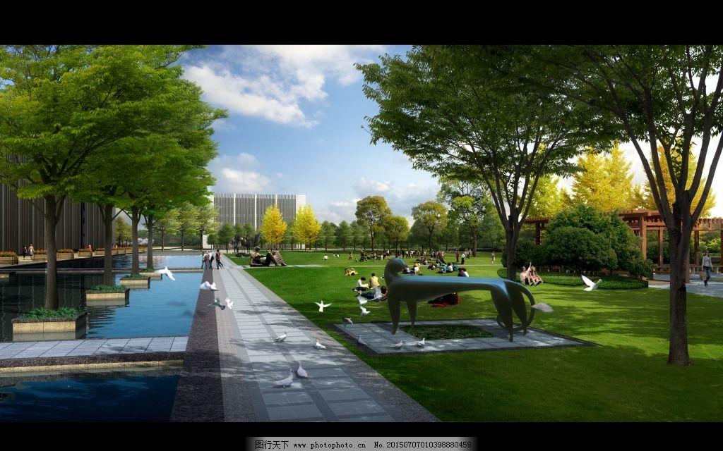 城市公园透视图免费下载 雕塑 高清 景观 室外 园林 高清 室外 景观