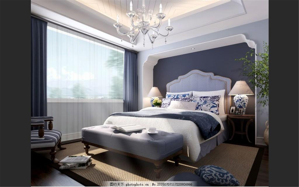简洁卧室风格设计 台灯 席梦思 床铺 欧式风格 放假设计 黑色图片