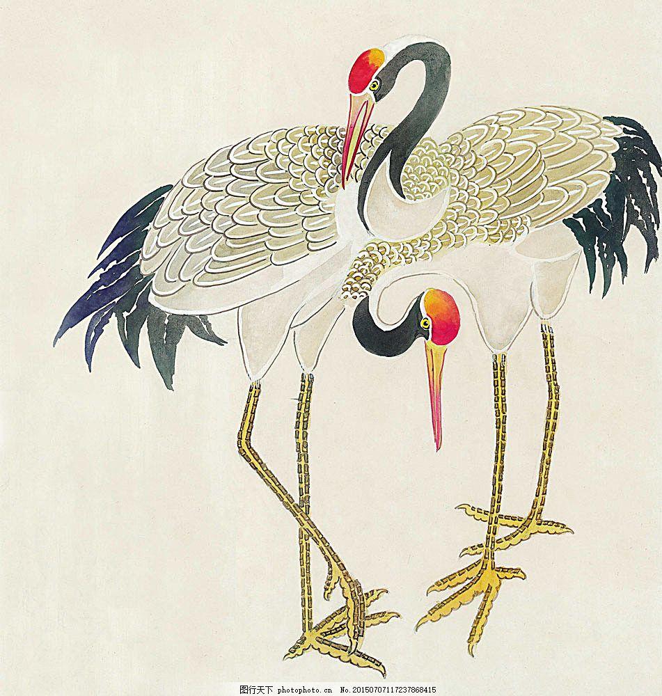 两只丹顶鹤 水彩画 水彩 画 水墨画 图案 文化 艺术 古代 传统 水墨花