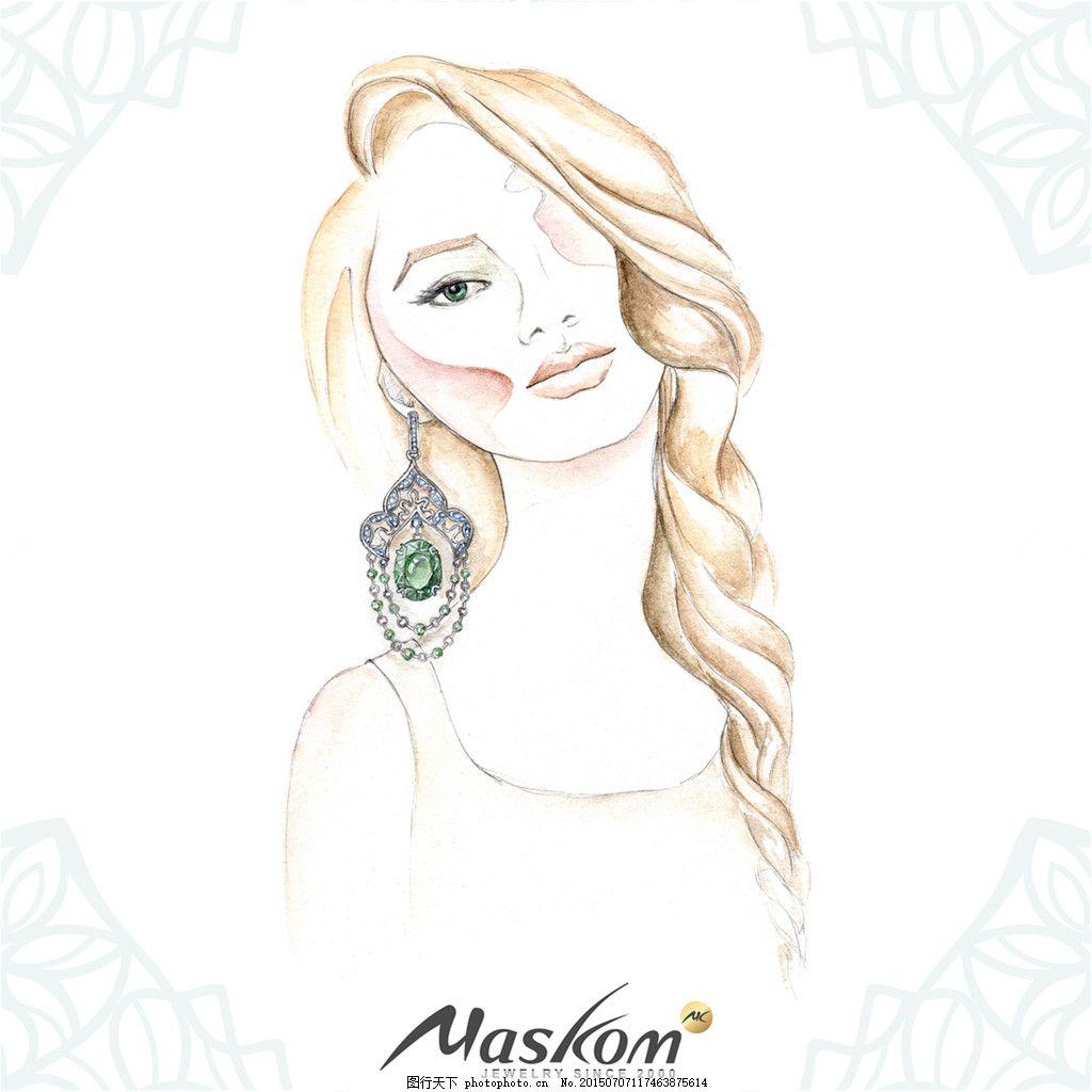 手绘美女耳饰吊坠设计素材 手绘 美女 耳饰 吊坠 绿宝石     白色 jpg