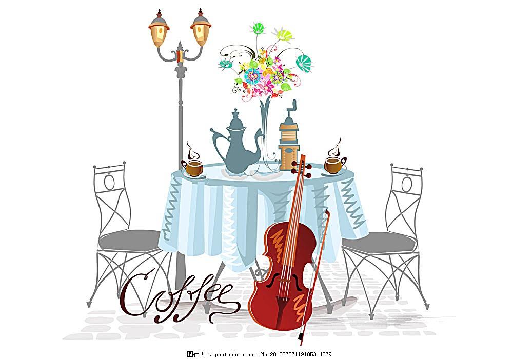 手绘街道咖啡馆 手绘 素描 街道 路边 咖啡馆 咖啡厅 路灯 欧式 建筑