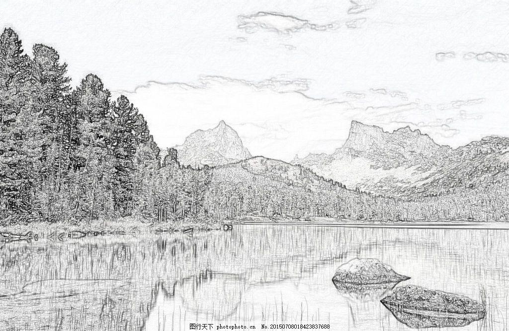 风景素描 河边 树林 素描 psd 白色
