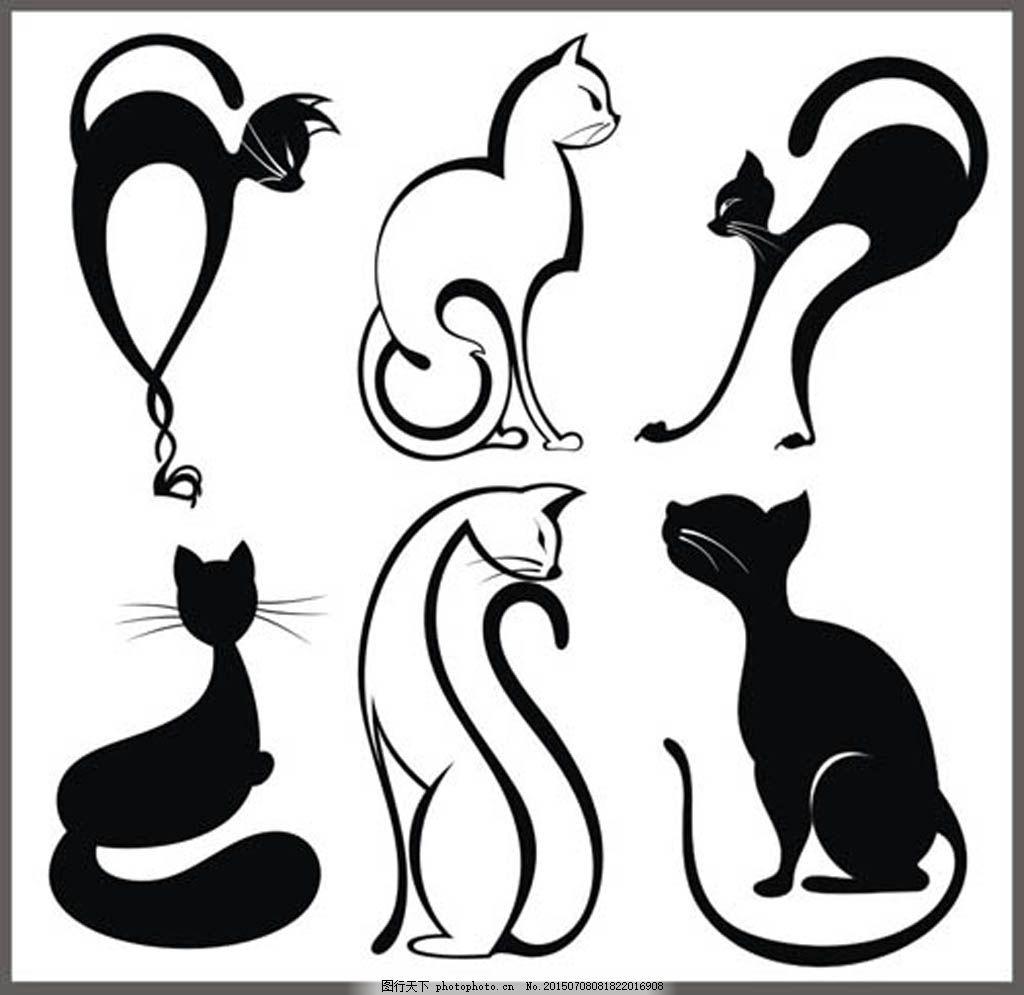 纹身刺青图案矢量素材 猫 波斯猫 简约 少女 少女风 可爱 扁平 剪影