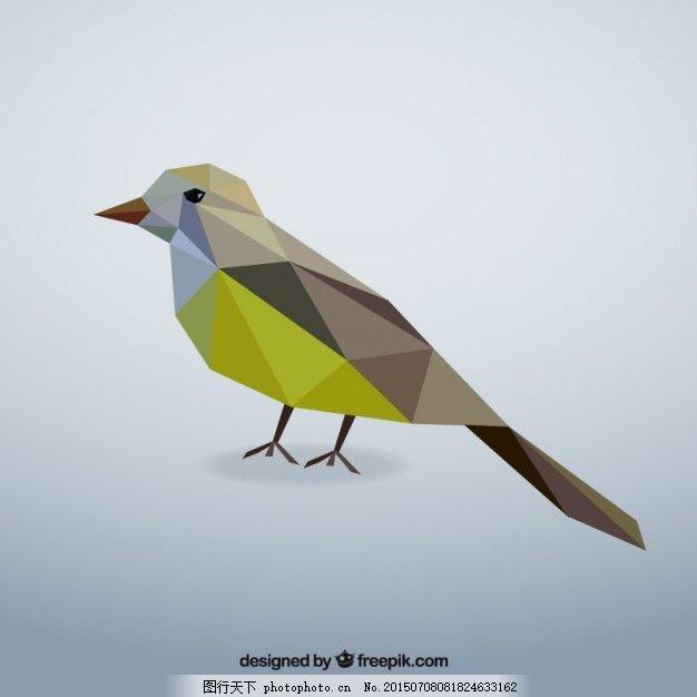 多边形的鸟 几何 自然 动物 低多边形 灰色