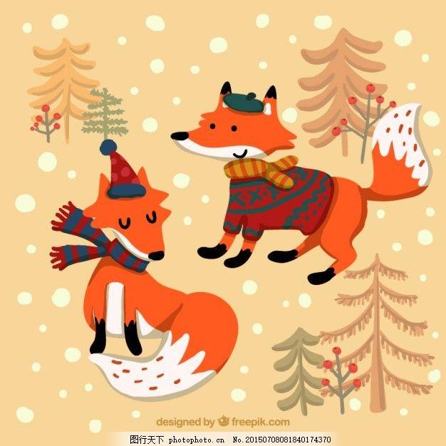 卡通冬季狐狸 雪 动物 卡通 冬天 森林 可爱 狐狸 插图 可爱的动物