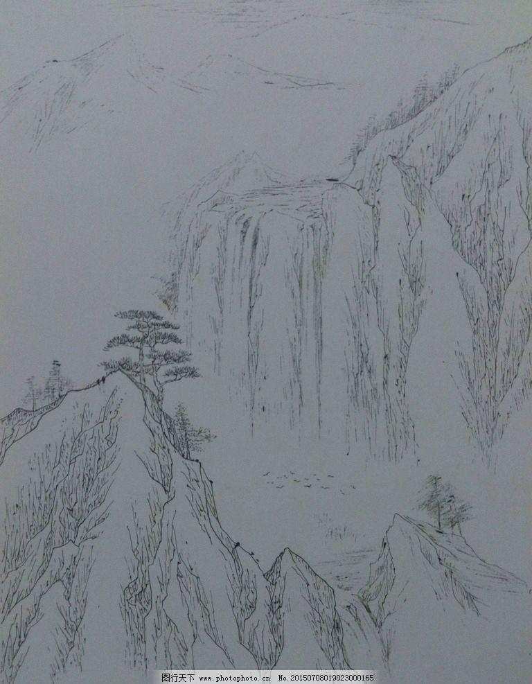 线描 钢笔画 风景 山水画 绘画 设计 文化艺术 绘画书法 72dpi jpg