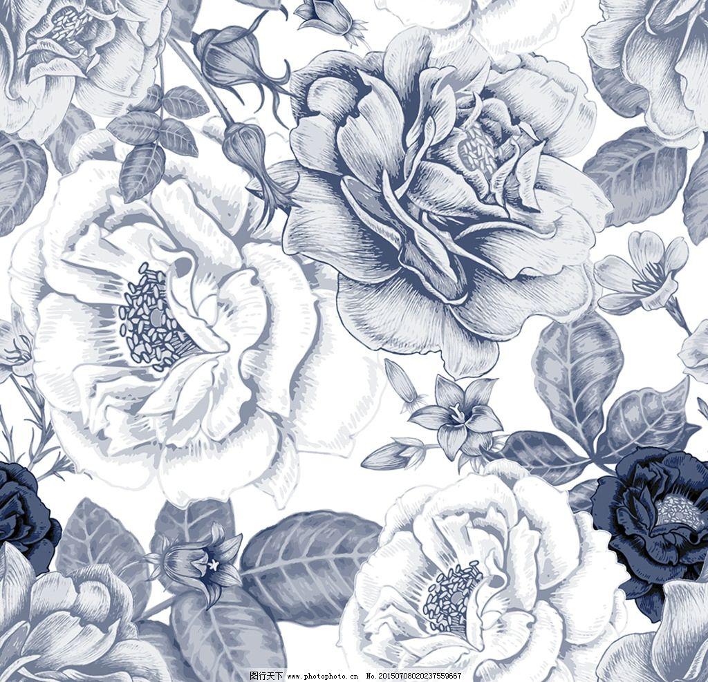 蓝色 水彩 花朵 玫瑰 牡丹 手绘 设计 底纹边框 背景底纹 eps