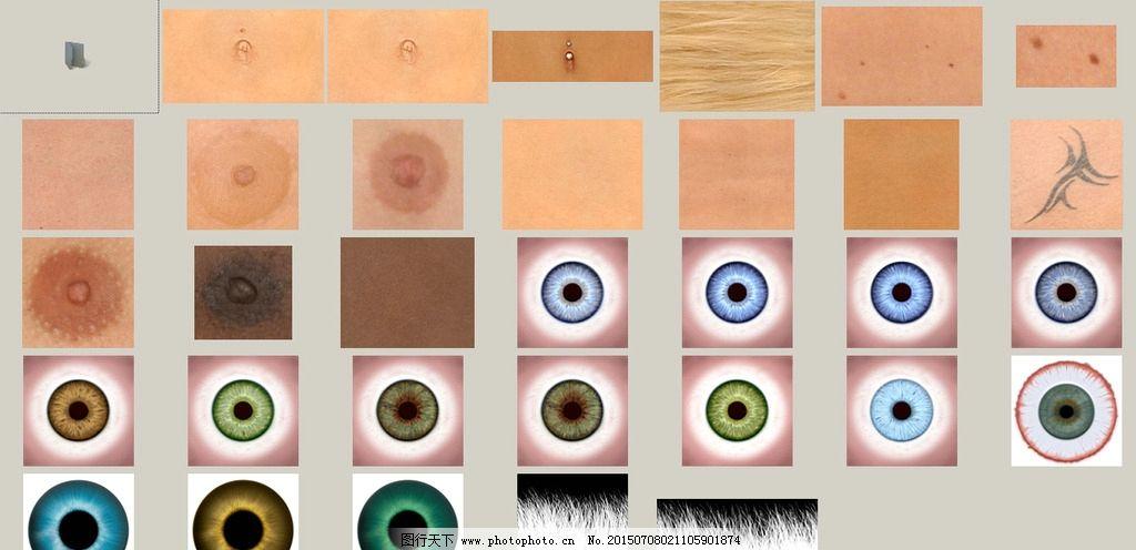 人体素材图片,表皮 眼睛 头发 皮肤 人体肌肤 肚脐-图