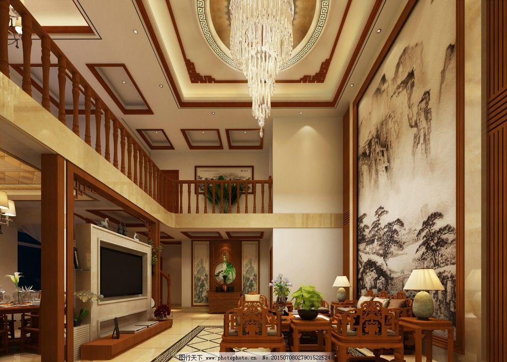 复式楼客厅             中式 红木家具 中式装修 水晶灯 家装 设计