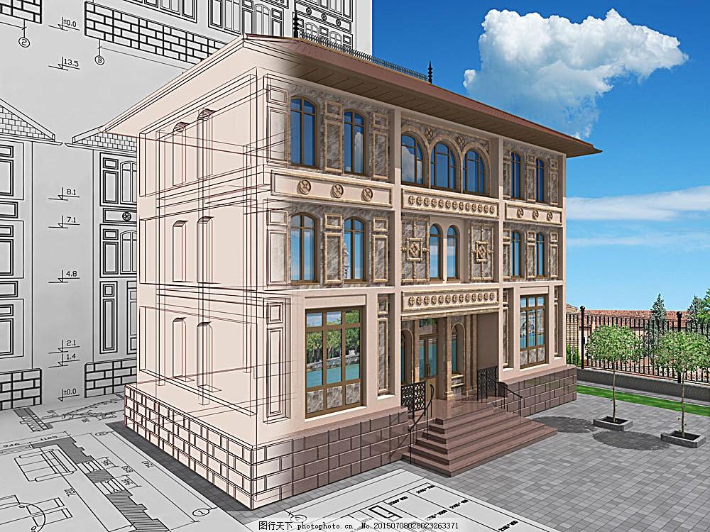 欧式别墅模型 欧式 别墅 模型 楼房 房子 建筑 图纸 设计图 建筑设计