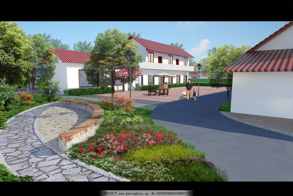 农家乐改造设计 景观改造 室外环境 植物配置 红色 环境设计 景观设计