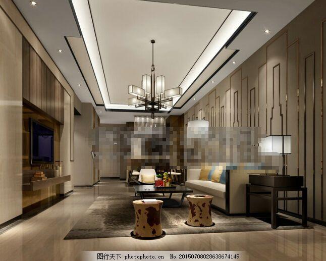客厅空间下载 客厅空间 欧式 客厅空间3d模型素材 max 灰色