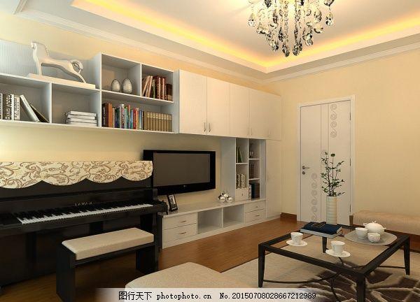 简约电视柜3d模型 钢琴 茶几 储物柜 家具模型 免费下载 书房设计