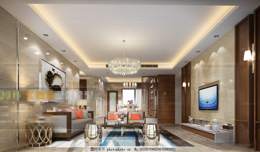 客厅空间 欧式 客厅空间3d模型素材 3d模型 max 灰色