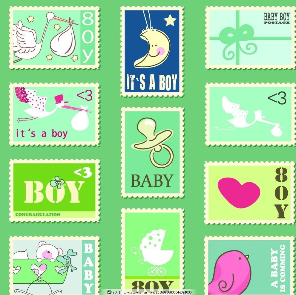 卡通母婴邮票矢量素材 送子鹤 仙鹤 丹顶鹤 月亮 表情 蝴蝶结 丝带