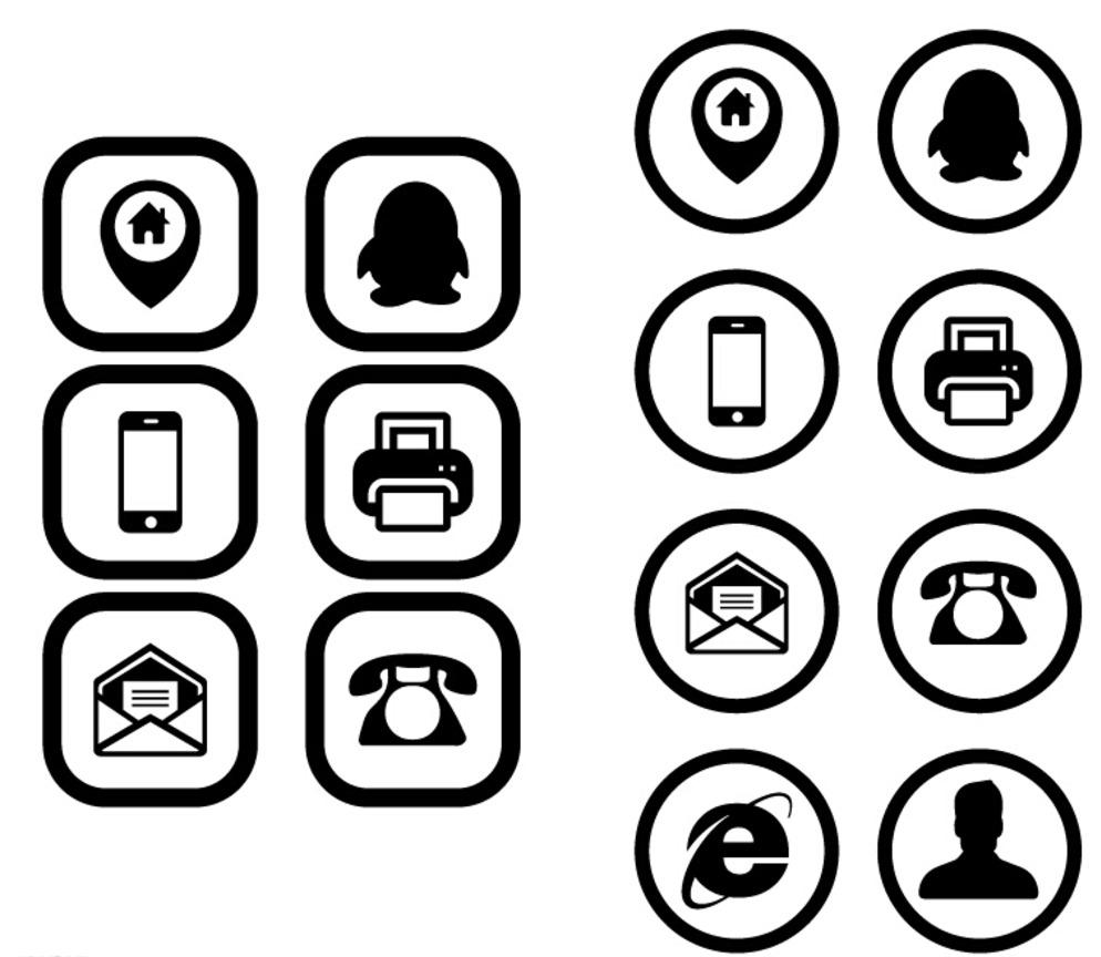 ai logo设计 qq图标 电话图标 广告设计 名片图标 设计 图标 网址图标
