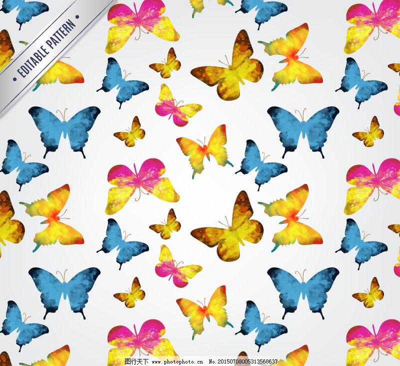 缤纷水彩蝴蝶背景矢量图