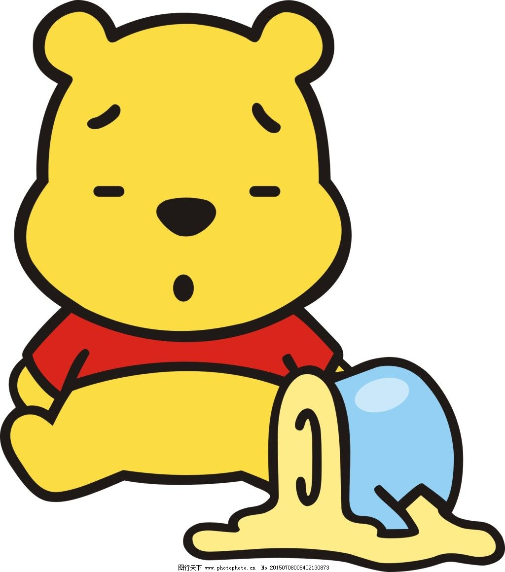 小熊维尼 小熊维尼免费下载 卡通 黄色熊 蜂蜜罐子 矢量 矢量图图片