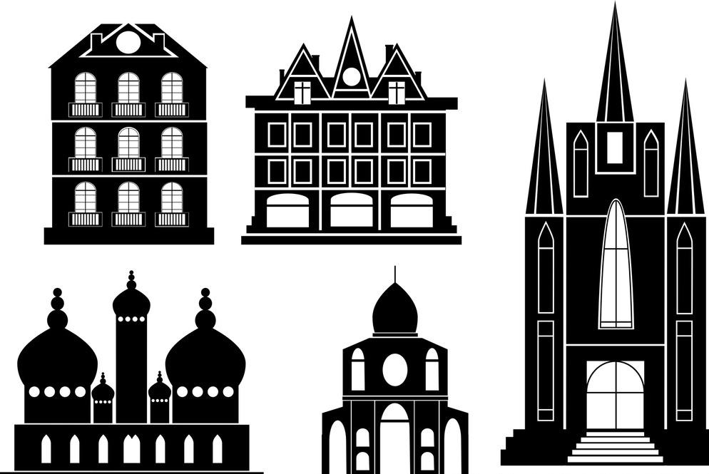 环境设计 教堂矢量剪影 城堡剪影 欧洲建筑剪影 矢量素材 简洁 线条