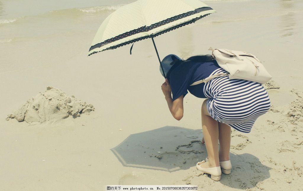 女孩背影 美女背影 撑伞女孩背影 撑伞美女背影 夏日撑伞背影 银滩