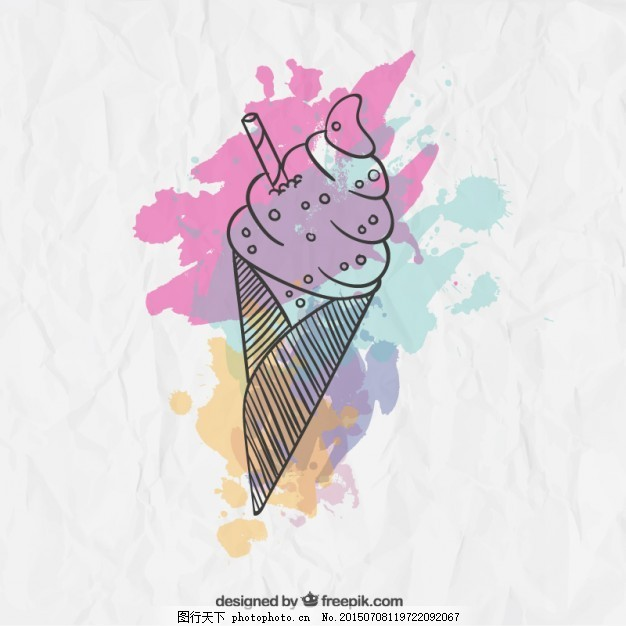 水彩画的冰淇淋 水彩 飞溅 油漆 冰淇淋 手绘 甜 绘画 油漆飞溅 好吃