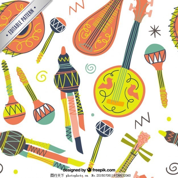 手绘彩色乐器图案