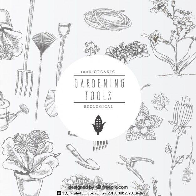 花 手工 手绘 花园工具 绘图 植物 盆栽 园艺 画 设备 园林工具 花盆