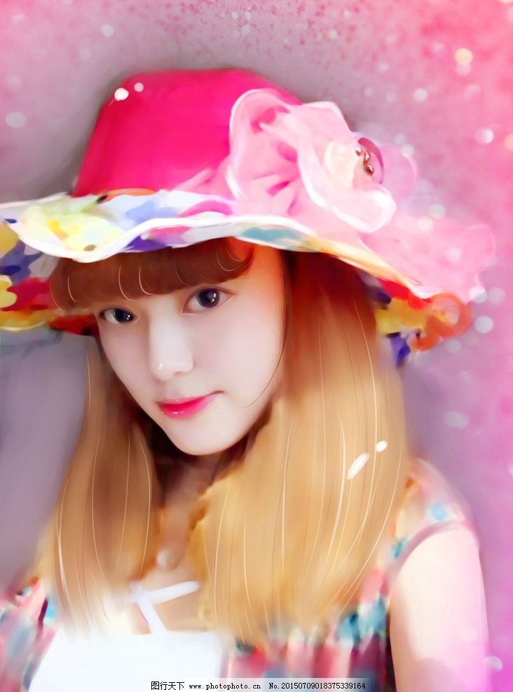 转手绘 粉帽子 女孩 绘画 粉色 可爱 设计 动漫动画 动漫人物 72dpi j