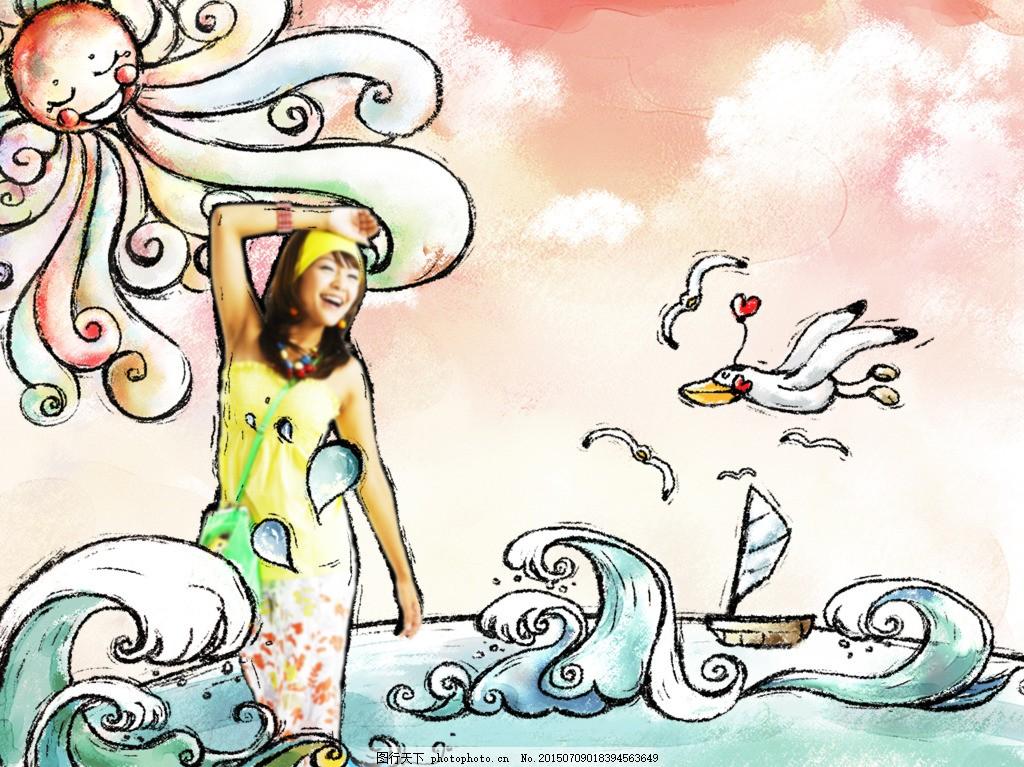 人物 插画 美女 女孩 手绘 云朵 白云 浪花 海鸥 海鸟 可爱 海水 大海