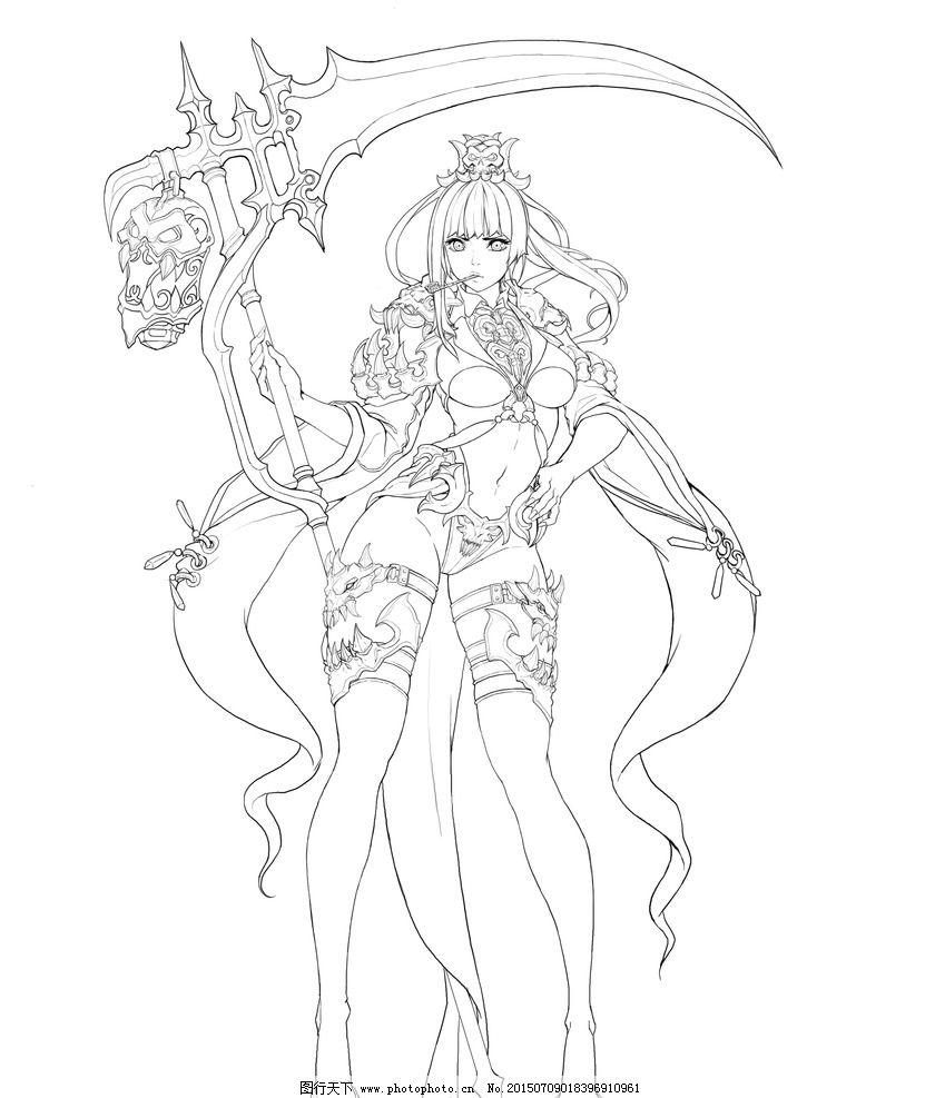上色 线稿 韩网 妹子 手绘 设计 动漫动画 动漫人物 300dpi jpg