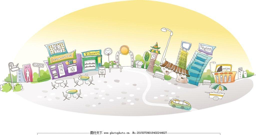 外国小镇 矢量插画