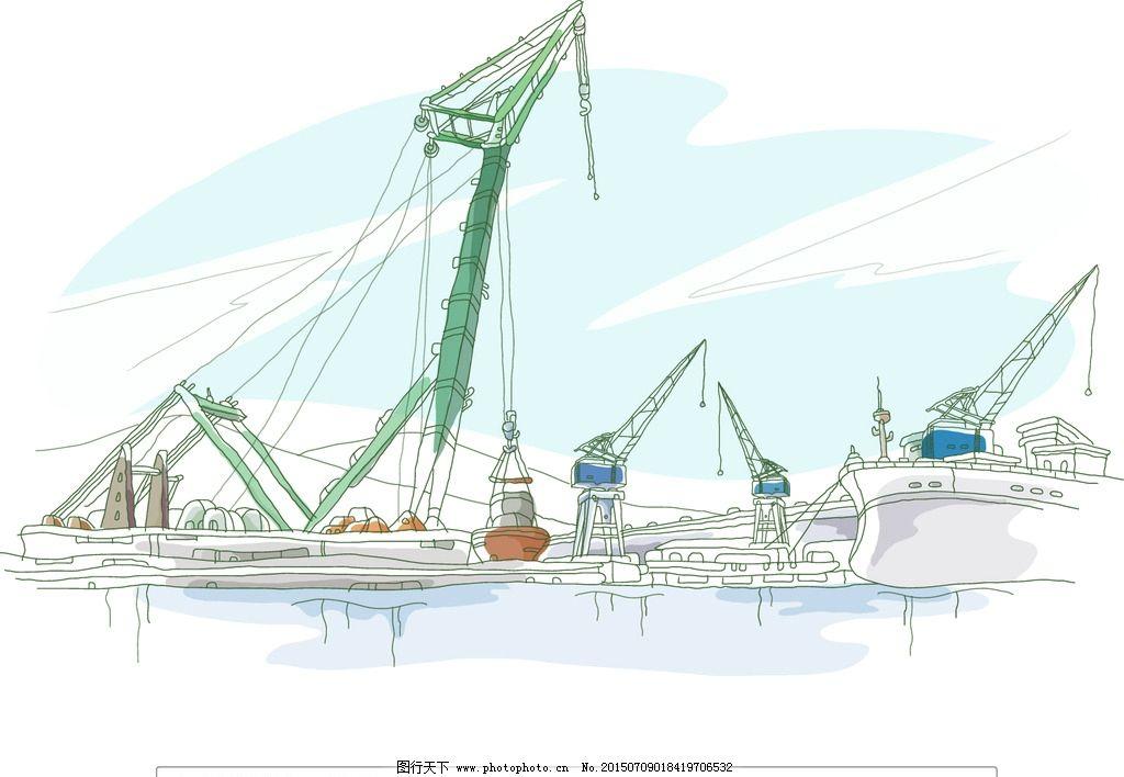 海上手绘卡通画