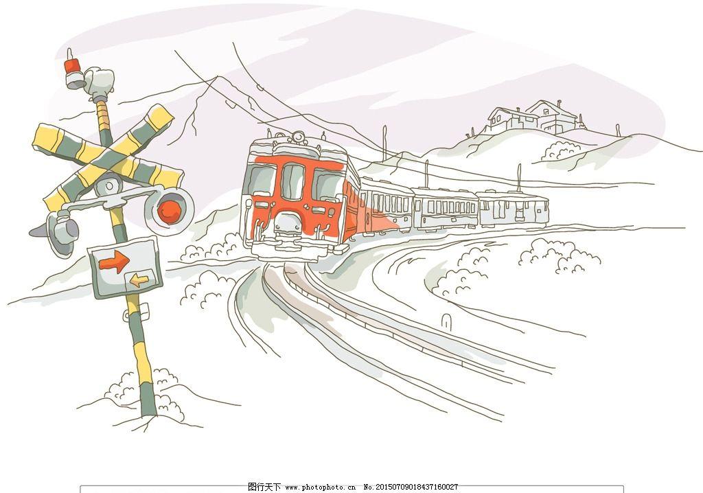 火车 铁轨 火车站 站台 站牌 火车行驶 火车风景 矢量插画 设计 动漫