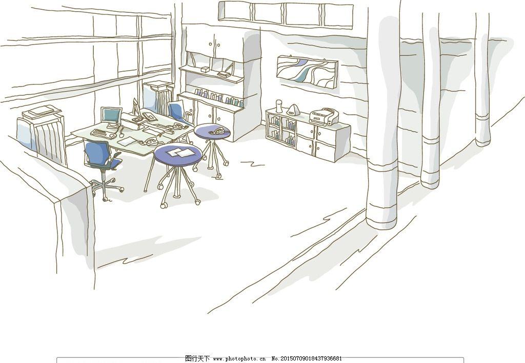 办公室矢量插画图片