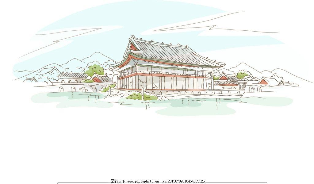 中国 古典建筑 古代建筑 典雅 宫殿 园林 湖水 矢量插画 设计 动漫