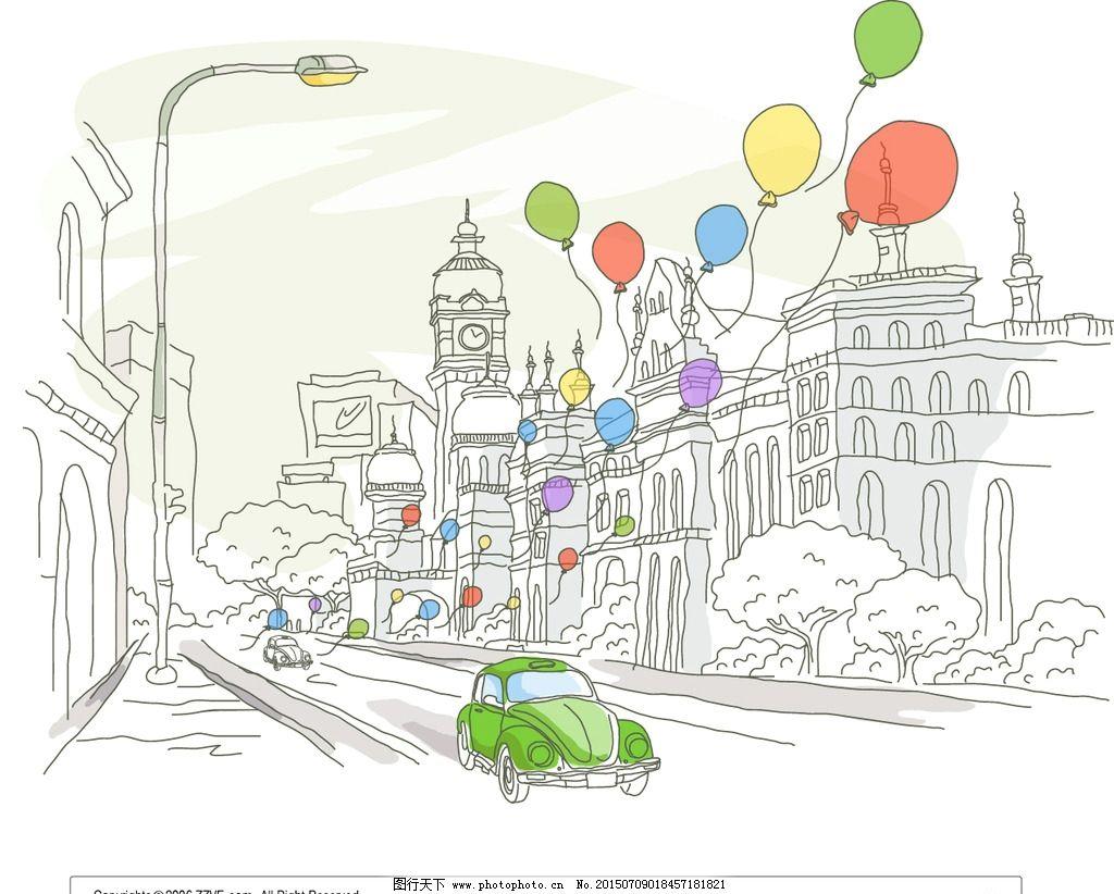 手绘风景画线条插图