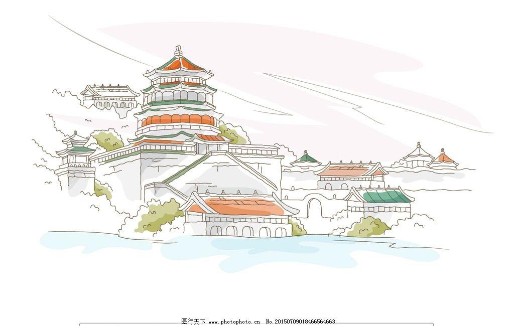 古都城市风景插画 古代建筑 古典建筑 矢量插画 线条画 园林景观
