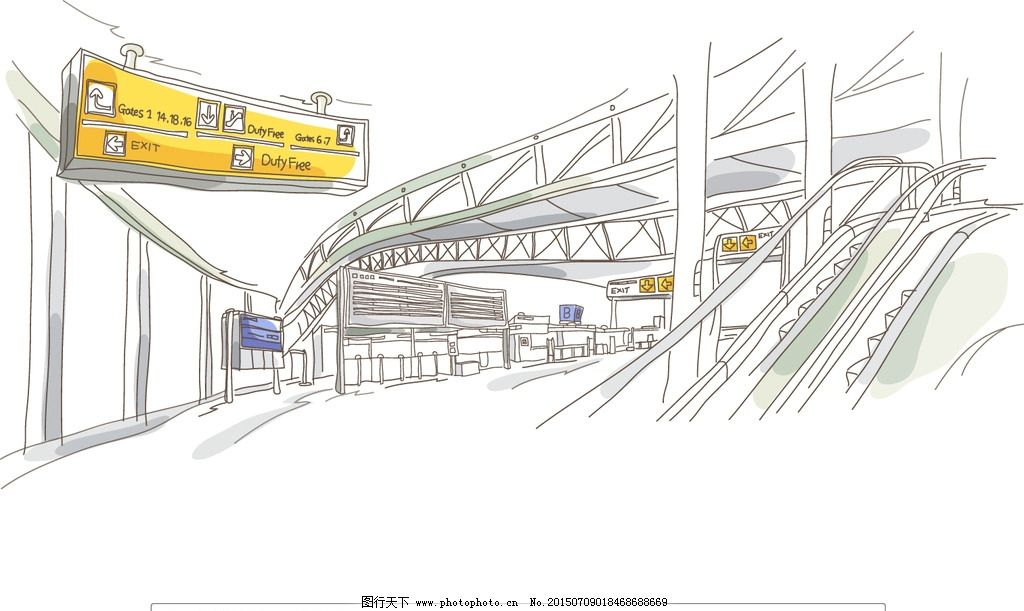 车站 地铁站 轻轨站 站台 指示牌 扶梯 出入口 城市风景 矢量插画-地铁