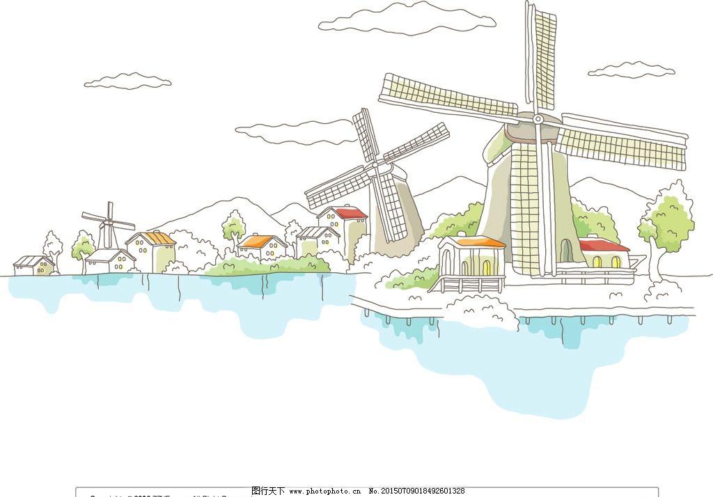 荷兰小镇风景插画图片