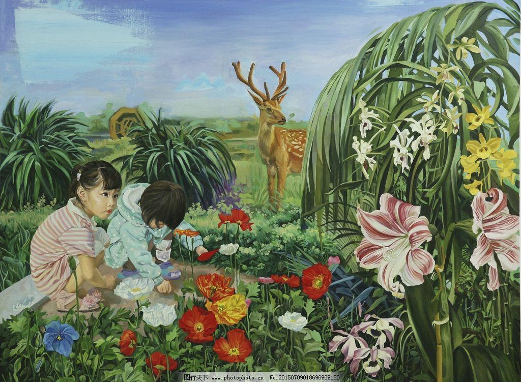 超现实 油画 作品 奇幻 艺术 绘画 人物画 梅花鹿 花地 原创