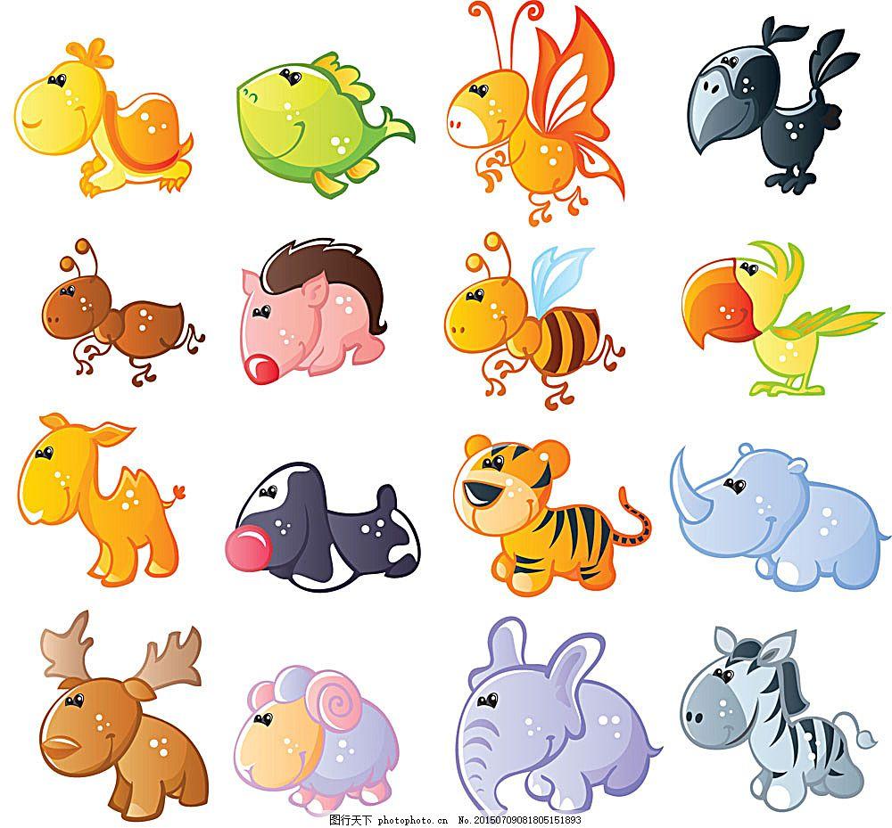 可爱q版动物 卡通 卡通生物 陆地动物 生物世界 矢量素材 白色