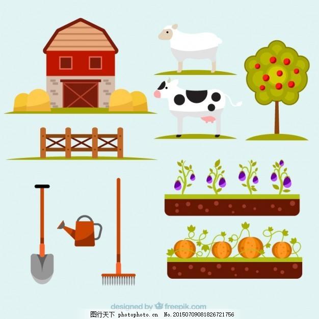自然与农业要素的集合 树 手工 自然 动物 农场 手工绘制 景观 羊