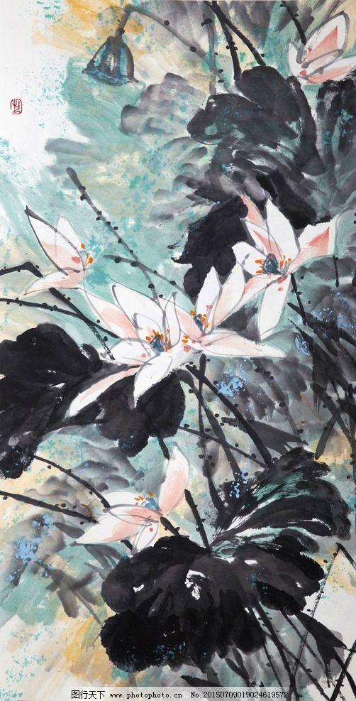 中国画 中国 传统 绘画 荷花 花卉 荷叶  设计 文化艺术 绘画书法 300