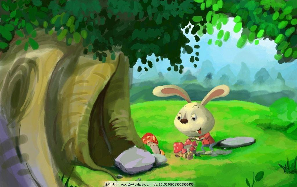 绿树 卡通兔子
